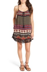 Band Of Gypsies Women's 'India' Fringe Trim Mixed Print Shift Dress Black Beige