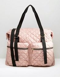 Asos Lifestyle Quilted Nylon Zip Pocket Holdall Pink