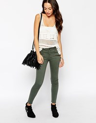 New Look Skinny Zip Detail Jean Khaki