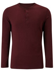 John Lewis And Co. Long Sleeve Grandad Top Oxblood