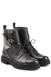 Fendi Bug Leather Biker Boots Black