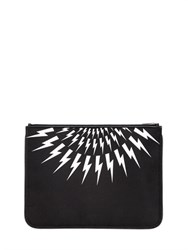 Neil Barrett Large Flashes Printed Nylon Pouch
