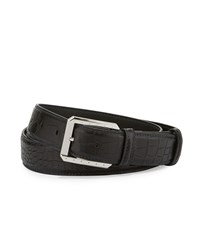 Stefano Ricci Crocodile Belt W Palladium Buckle Black Men's