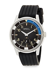 Breil Milano Stainless Steel And Grooved Silicone Watch Black Silver