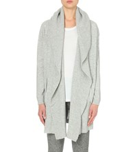 The Kooples Open Front Wool And Cashmere Blend Cardigan Light Grey Melange