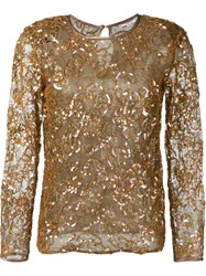 Yves Saint Laurent Vintage Sequins Embroidered Top Brown