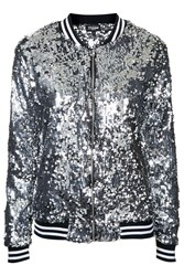 The Taylor Silver Seqiun Bomber Jacket By Jaded London