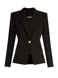 Balmain Single Breasted Wool Jacket Black