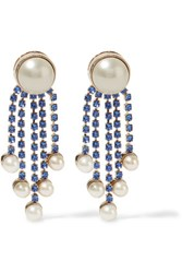 Valentino Gold Plated Faux Pearl And Crystal Earrings Navy