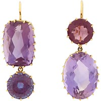 Renee Lewis Women's Amethyst And Gold Mismatched Drop Earrings No Color