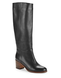 Kate Spade Zip Up Knee High Leather Riding Boots Black