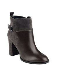 Nine West Quinah Leather And Suede Booties Brown