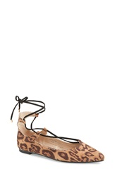 Topshop 'Finest' Pointy Toe Ghillie Flat Women Brown Multi