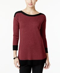 Cable And Gauge Contrast Trim Sweater Only At Macy's Black Tip Burgundy