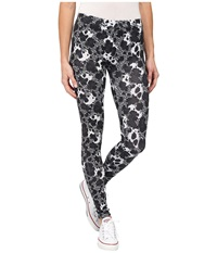 Converse Global Fit Printed Knit Leggings Black White Print Women's Casual Pants Animal Print