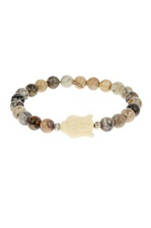 Jean Claude Silver Jasper And White Stone Buddha Beaded Stretch Bracelet Beige