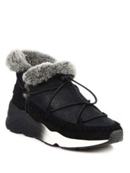 Ash Mitsouko Suede Leather And Fur Wedge Booties Black