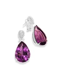 Frederic Sage 18K White Gold And Amethyst Teardrop Earrings With Diamonds