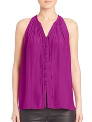 Ramy Brook Sleeveless Patricia Lace Up Top Tiger Lily Mystic Purple