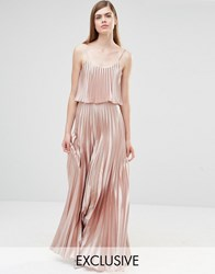 True Violet Pleated 2 In 1 Maxi Dress Rose Gold Pink