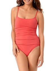 Anne Cole Shirred One Piece Swimsuit Watermelon