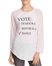 Wildfox Couture Dance Party Baseball Tee Clean White Pouty Pink