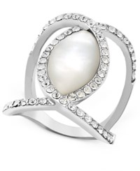 Inc International Concepts Silver Tone Mother Of Pearl Finish Open Style Fashion Ring Only At Macy's