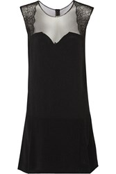 Sandro Rozabel Lace And Tulle Paneled Crepe Mini Dress Black