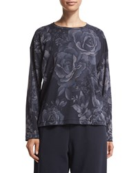 Eskandar Long Sleeve Floral Print T Shirt Navy
