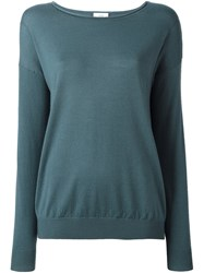 Closed Scoop Neck Jumper Green