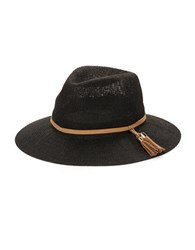 Collection 18 Tassel Accented Panama Hat Black