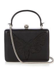 Alexander Mcqueen Moth Embroidered Leather Box Clutch Black