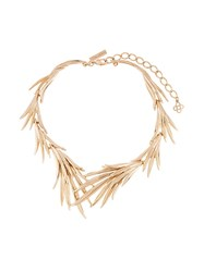 Oscar De La Renta Palm Leaf Necklace Metallic