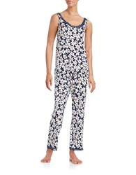 Oscar De La Renta Plus Floral Cami And Pants Pajama Set Navy Floral