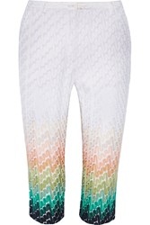 Missoni Cropped Crochet Knit Straight Leg Pants White