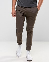 Asos Super Skinny Chinos In Brown Turkish Coffee