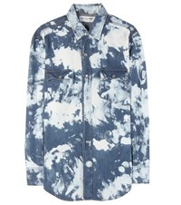 Saint Laurent Printed Cotton And Linen Shirt Blue