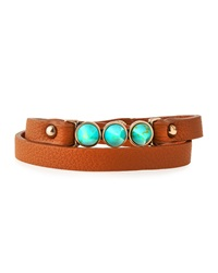 Panacea Faux Leather Wrap Bracelet Brown Turquoise