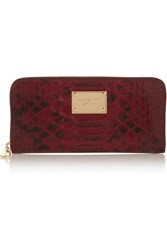 Michael Michael Kors Snake Effect Patent Leather Wallet Red