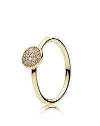 Pandora Design Ring 14K Gold And Cubic Zirconia Dazzling Droplet Silver