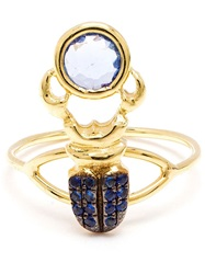18Kt Yellow Gold And Blue Sapphire Ring