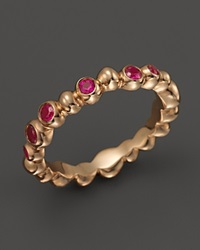 Michael Aram 18K Rose Gold Molten Band Ring With Pink Sapphire Rose Pink