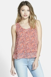 Frenchi Print Layered Tank Juniors Orange