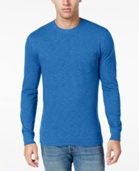 Club Room Men's Long Sleeve Pocket T Shirt Only At Macy's Palace Blue