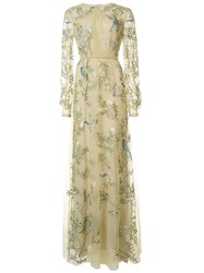 Monique Lhuillier Embroidered Bird Gown Green
