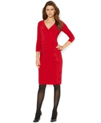 American Living Matte Jersey Ruched Surplice Dress