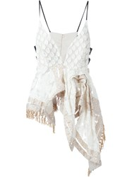 Mame Asymmetric Embroidered Top Nude And Neutrals