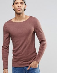 Asos Rib Extreme Muscle Long Sleeve T Shirt With Boat Neck In Brown Brown