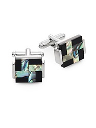 Saks Fifth Avenue Abalone Square Cuff Links
