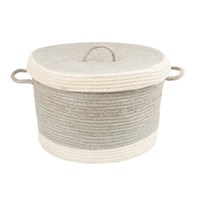 Braided Rug Company Rope Braid Basket And Lid Grey Cream Medium